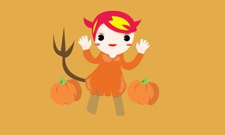 Halloween Cute Little girl Vector