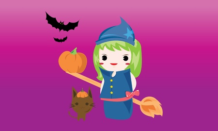 Halloween Cute little Witch with cat Vector