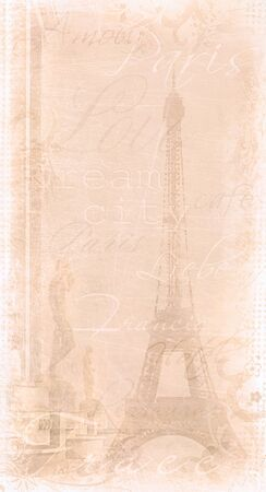 illustrated background of the eiffel tower with decorative text photo
