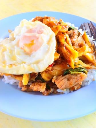 fired egg: Stir fried pork with bamboo shoot hot chili fired egg for 35baht.