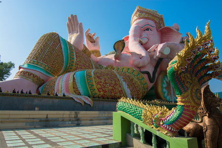 Ganesh Indian God with his loin and King of Naga guardian in Nakorn Nayok, Thailand  Stock Photo - 25028082