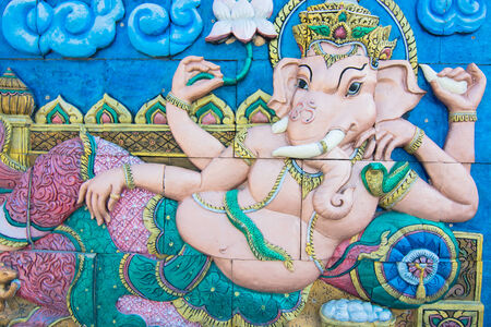 Cement blocks picture of Ganesh Indian God on a wall Stock Photo - 25028089