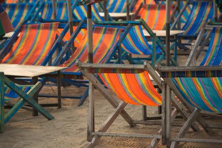 umbella: Beach chairs in Bang-san beach  Thailand