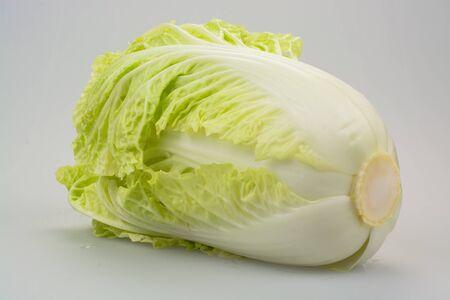 against white: White cabbage against white background. Stock Photo