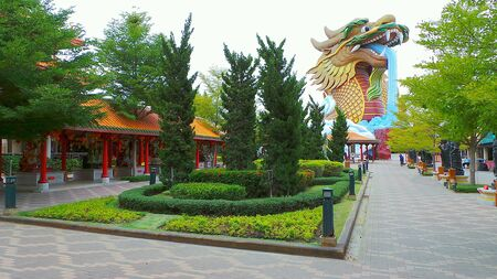 design: Chinese garden design in a shrine complex in Suphanburi, Thailand.
