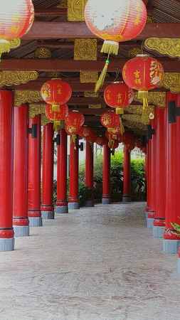 construction: Chinese walkway with decorative lanterns. Stock Photo