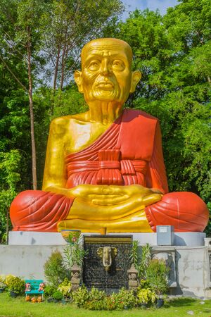 reincarnation: Buddhist monk image in a temple in Saraburi, Thailand.