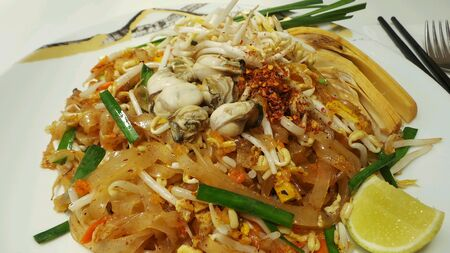 Thai cuisine Pad-Thai rice noodle with oysters.
