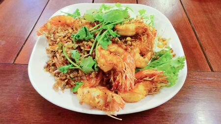 Deep fried prawns with garlic and pepper. Stock Photo