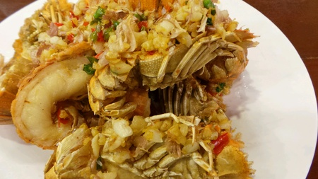 Stirfried crayfish with garlic and chilli.