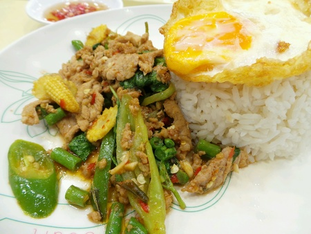Stired fried pork slice with basil leaves serve with rice and fried egg.