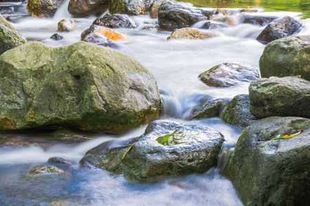 Background Picture of water flows through rocky path of a stream