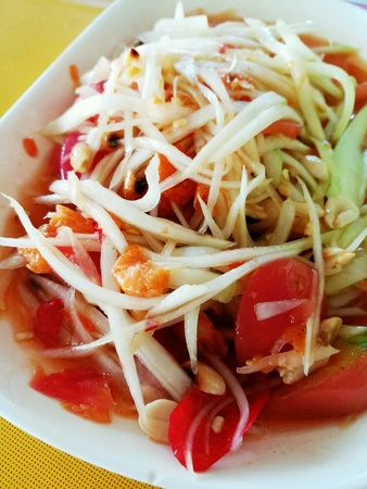Papaya salad traditional Thai food healthy delicious and cheap.