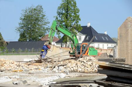 Sonderborg, Denmark - May 23,2019: Disused industial building under demolition. Stockfoto - 142592029