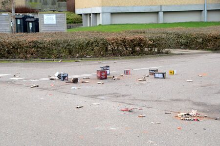 Sonderborg, Denmark - January 1, 2020: waste after New year's firework float around in the street