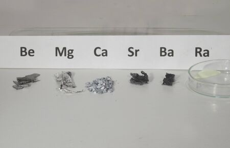 Arrangement with the elements of the second main groupof the periodic system. From left: beryllium, Magnesium, Calcium, Strontium, Barium, and Radium represented with a compound.