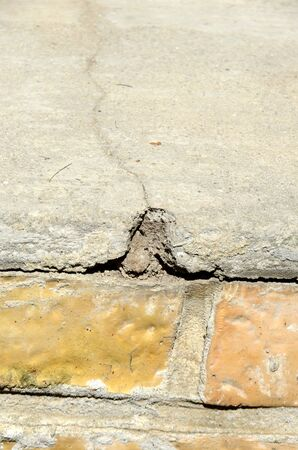 Crack in a building's base due to subsidence