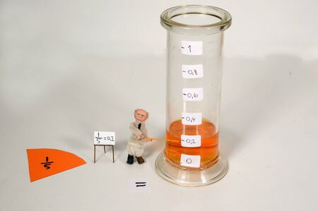 Fraction demonstration setup featuring fifth parts being converted to decimal.