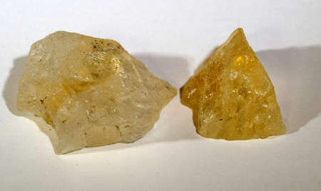 Two piece of citrine, a yellow quarz variant mant to support wealth and psrosperity.