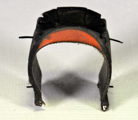Cross section of bicycle tyre with Kevlar reinforcement.