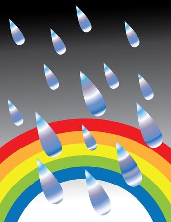 Rainbow in the Rain Vector