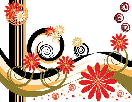 red swirl: Spiral Flower Fantasy Illustration