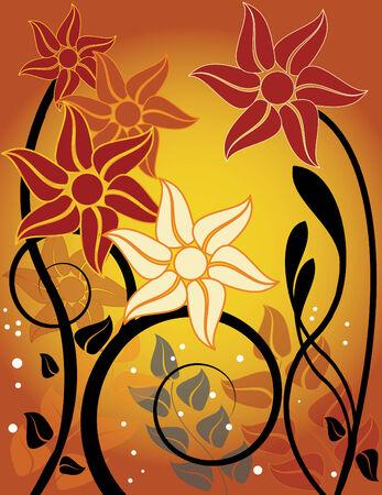 Autumn Floral Sunset Vector