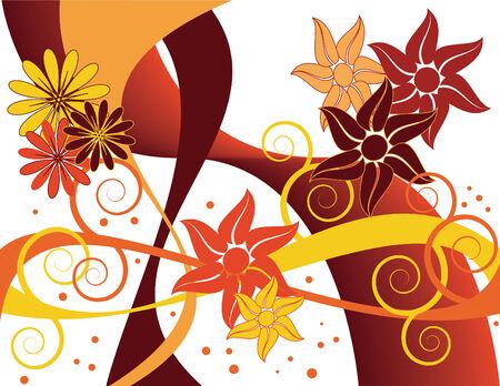 Autumn Floral Swirl Vector