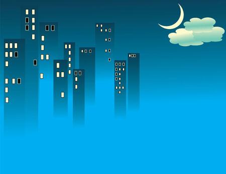 Blue Fog City Vector