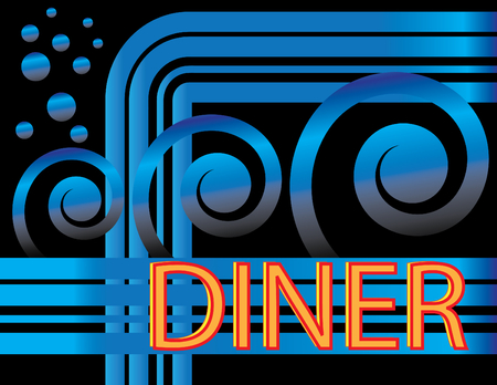 Blue Deco Diner Vector