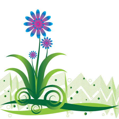 green lines: Blue Floral Frolic Illustration