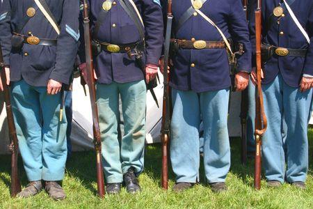 Union Soldiers--Civil War Reenactment Foto de archivo
