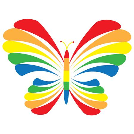 무지개 나비 일러스트