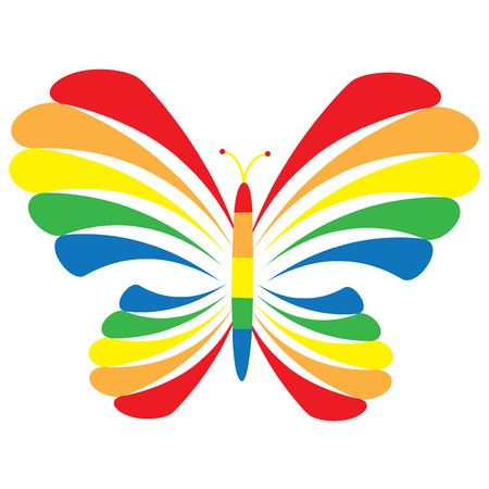 rainbow background: Rainbow Butterfly Illustration