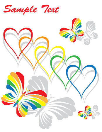 Rainbow Hearts and Butterflies