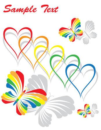 Rainbow Hearts and Butterflies Vector
