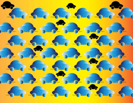 autos: Blue Traffic (motion illusion) Illustration