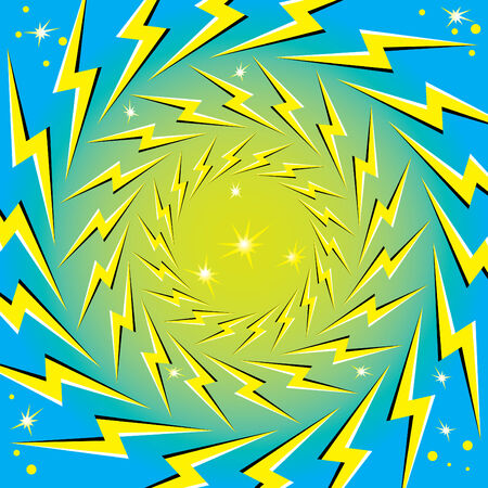 Rotating Lightning Bolts (motion illusion) Stock Vector - 7372437