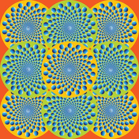 Blue Balls Spin Wheels  (motion illusion) Stock Vector - 7758965