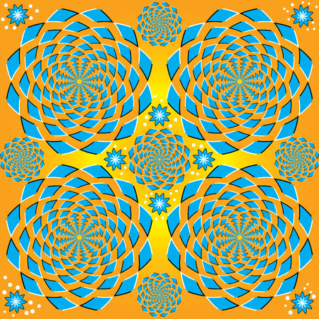 Spinning Blue Floral  (motion illusion)