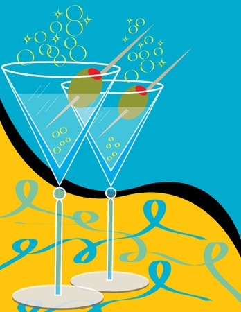 olive green: Martinis for Two Illustration