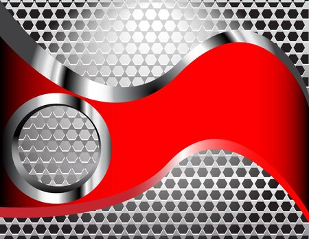 metallic background: Red Wave Grille Illustration