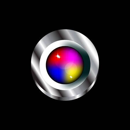 push: Colorful Glass Push Button