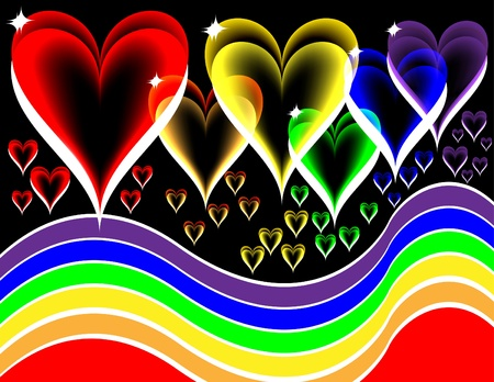 rainbow background: Rainbow Hearts Illustration