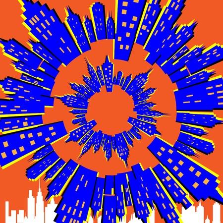 Spinning City Stock Vector - 10192496