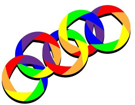 Linked Rainbow Rings Ilustração