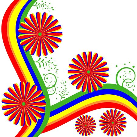 rainbow background: Rainbow Floral Illustration