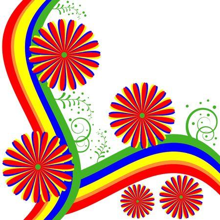 rainbow colors: Rainbow Floral Illustration