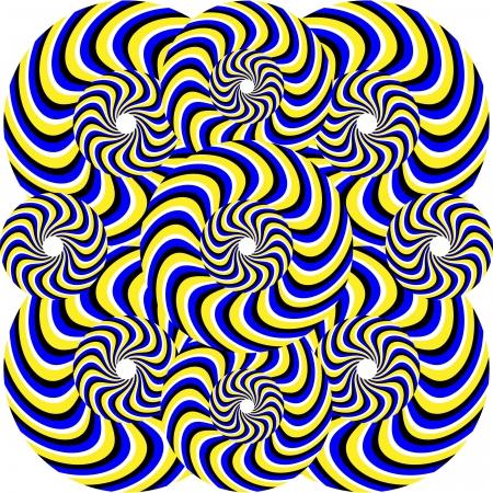 abstract art: Blue Tiger Twirlers     motion illusion Illustration