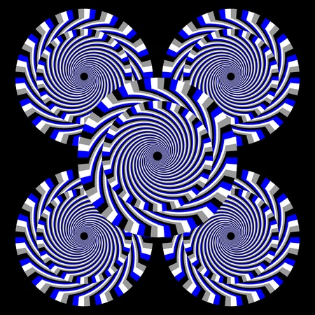 blue spiral: Hypnotic Quintet    motion illusion Stock Photo